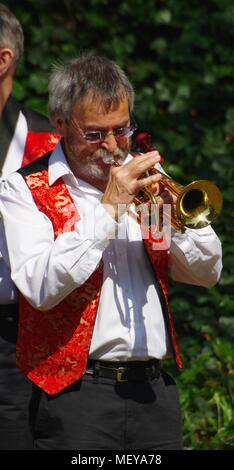 Brass Band Playing in Rougemont Garden's at RAMM'S Carnival of the Animals. Exeter, Devon, UK. April, 2018. - Stock Photo