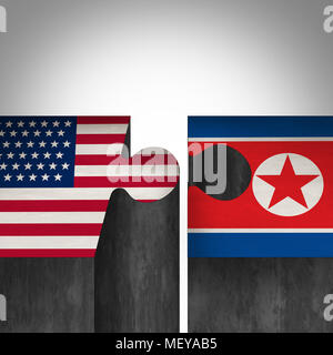 North Korea United States agreement and American and North Korean diplomacy between pyongyang and washington as tree roots connecting together with 3D - Stock Photo