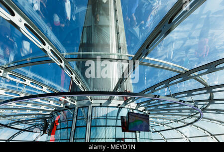 Brighton, United Kingdom - AUGUST 1, 2017: Spire of British Airways i360 observation tower in Brighton, reflections of visitors inside the capsule - Stock Photo