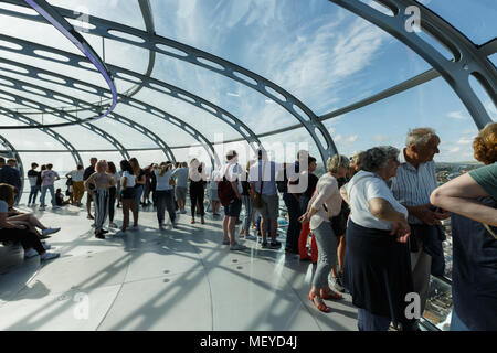 visitors enjoy the view of Brighton coastline from a bird's-eye view - Stock Photo