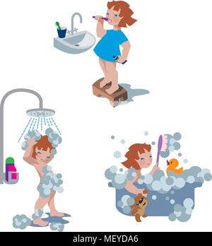 Vector illustration of little girl taking a shower, a bath, brushing teeth in a bathroom. - Stock Photo