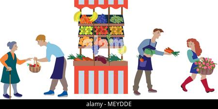 Local farmers market farmers selling vegetables produce on stall. Modern flat style realistic vector illustration isolated on white background. - Stock Photo