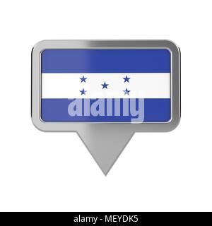 Honduras flag location marker icon. 3D Rendering - Stock Photo