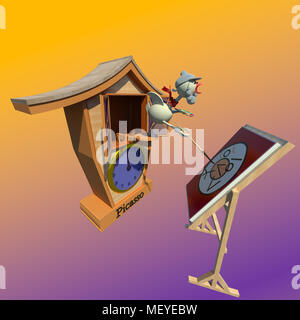 cuckoo-clock-cuckoo-bird-artist-painting-self-portrait-at-his-very-young-age-3d-illustration-on-gradient-colorful-background-collection-meyebw jpg