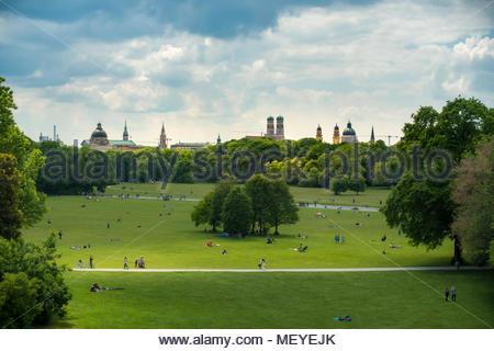 Englischer Garten in Munich Bavaria Germany - Stock Photo