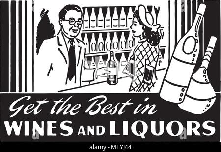 Get The Best In Wines 2 - Retro Ad Art Banner - Stock Photo