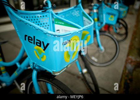 Atlanta capital of the U.S. state of Georgia, Relay Social street hire Bicycles for sharing stored in a hub - Stock Photo