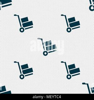 Loader icon sign. Seamless pattern with geometric texture. Vector illustration - Stock Photo