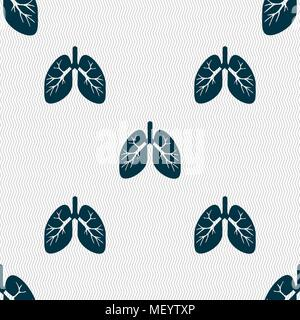 Lungs sign. Seamless pattern with geometric texture. Vector illustration - Stock Photo