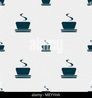 coffee, tea icon sign. Seamless pattern with geometric texture. Vector illustration - Stock Photo