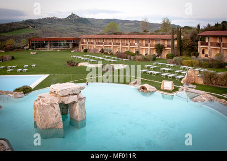 Hotel Adler Thermai, Bagno Vignoni, Tuscany with thermal pool - Stock Photo