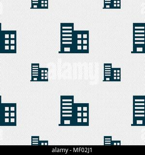high-rise commercial buildings and residential apartments icon sign. Seamless pattern with geometric texture. Vector illustration - Stock Photo