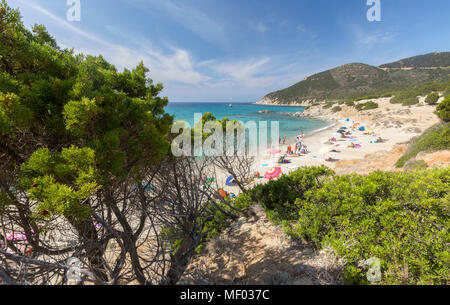 The mediterranean vegetation frames the beach and the turquoise sea of Porto Sa Ruxi Villasimius Cagliari Sardinia Italy Europe - Stock Photo