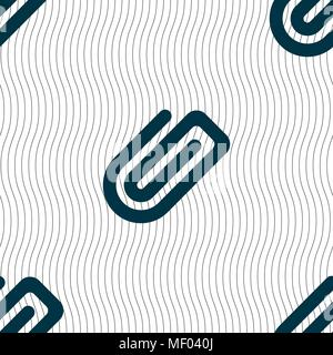 Paper Clip icon sign. Seamless pattern with geometric texture. Vector illustration - Stock Photo