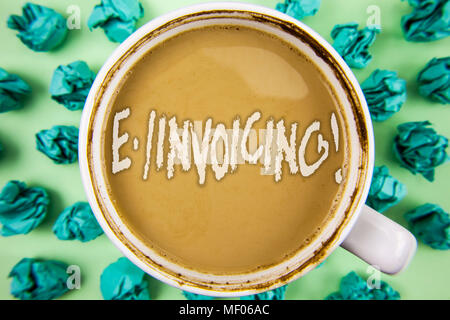 Word writing text E-Invoicing Motivational Call. Business concept for Company encourages use of digital billing written Tea in White Cup within Crumpl - Stock Photo