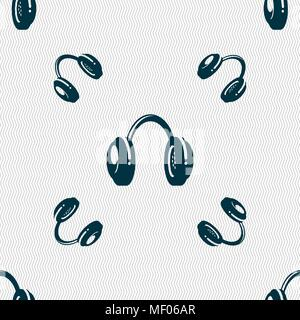 headsets icon sign. Seamless pattern with geometric texture. Vector illustration - Stock Photo