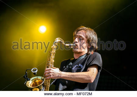 Supa Dupa performing live at the first edition of MUSILAC Mont-Blanc music festival in Chamonix (France) - 20 April 2018 - Stock Photo