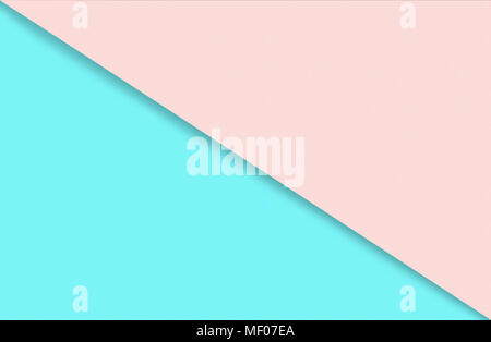 Abstract geometric water color paper background in soft pastel pink and blue trend colors with diagonal line. - Stock Photo