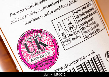 liable to UK excise duty for the UK market & know your limits information on bottle of Bowmore No 1 Islay single malt Scotch whisky - Stock Photo