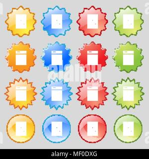 washing machine icon sign. Big set of 16 colorful modern buttons for your design. Vector illustration - Stock Photo