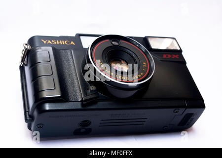 Yashica analog camera in white background - Stock Photo