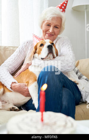 First birthday of favorite dog - Stock Photo