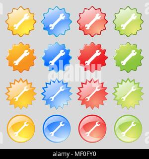 wrench icon sign. Big set of 16 colorful modern buttons for your design. Vector illustration - Stock Photo
