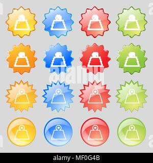 Weight icon sign. Big set of 16 colorful modern buttons for your design. Vector illustration - Stock Photo
