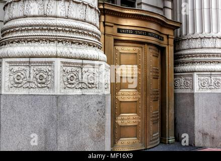 Portland, Oregon / USA - April 3, 2018:  The United States National Bank buidling in downtown Portland is a beautiful example of architecture. - Stock Photo