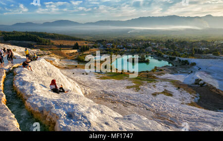 Picturesque view of Pamukkale in the autumn evening against a clear blue sky. Turkey - Stock Photo