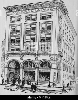 Pen and ink drawing of Steinert Hall, Boylston Street, Boston, Massachusetts, 1878. Courtesy Internet Archive. () - Stock Photo