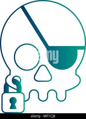 pirate skull virus attack with padlock - Stock Photo