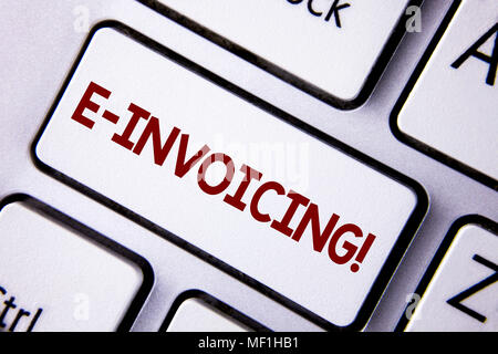 Word writing text E-Invoicing Motivational Call. Business concept for Company encourages use of digital billing written White Keyboard Key with copy s - Stock Photo