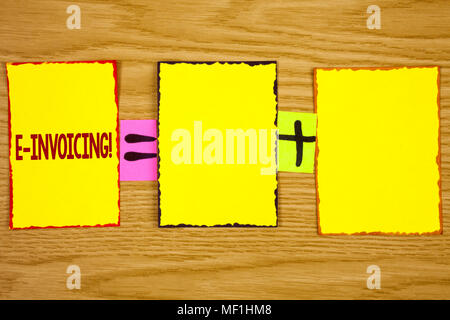 Handwriting text writing E-Invoicing Motivational Call. Concept meaning Company encourages use of digital billing written Sticky Note Paper wooden bac - Stock Photo