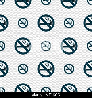 no smoking icon sign. Seamless pattern with geometric texture. Vector illustration - Stock Photo