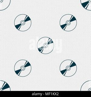 Cd, DVD, compact disk, blue ray icon sign. Seamless pattern with geometric texture. Vector illustration - Stock Photo