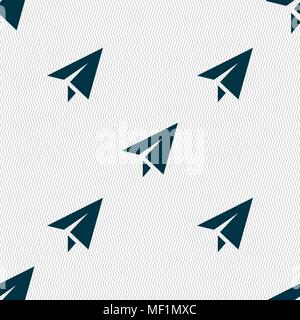 Paper airplane icon sign. Seamless pattern with geometric texture. Vector illustration - Stock Photo