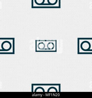 audio cassette icon sign. Seamless pattern with geometric texture. Vector illustration - Stock Photo