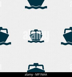 the boat icon sign. Seamless pattern with geometric texture. Vector illustration - Stock Photo