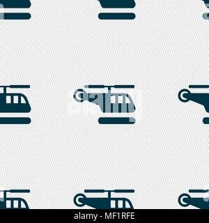 helicopter icon sign. Seamless pattern with geometric texture. Vector illustration - Stock Photo