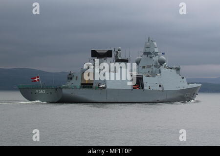 KDM Niels Juel (F363), an Iver Huitfeldt-class frigate operated by the Royal Danish Navy, passing Greenock on arrival for Exercise Joint Warrior 18-1. - Stock Photo