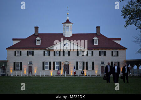 Mount Vernon, Virginia, USA. 23rd Apr, 2018. The Mansion at the Mount Vernon estate of first U.S. President George Washington stands during a dinner between U.S. President Donald Trump and Emmanuel Macron, France's president, not pictured, in Mount Vernon, Virginia, U.S., on Monday, April 23, 2018. As Macron arrives for the first state visit of Trump's presidency, the U.S. leader is threatening to upend the global trading system with tariffs on China, maybe Europe too. Credit: Andrew Harrer/Pool via CNP Credit: Andrew Harrer/CNP/ZUMA Wire/Alamy Live News - Stock Photo