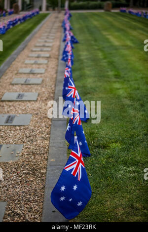 Ballarat, Victoria, Australia. 24th Apr, 2018. Pupils from MacArthur Street and Pleasant Street primary schools In Ballarat Victoria took time out to plant flags on the graves at the Ballarat Old Cemetery.Across both of Ballarat's cemeteries, more than 1300 graves will be marked so when dawn breaks on Anzac Day the flags will flutter at the graves of every First World War soldier known to be buried or commemorated there.  Credit: brett keating/Alamy Live News - Stock Photo