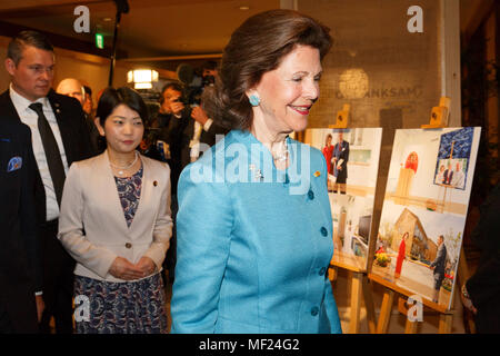 Queen Silvia of Sweden attends the Dementia Forum X on April 24, 2018, Tokyo, Japan. King Carl XVI Gustaf and Queen Silvia are in Japan from April 22 to 25 to celebrate the 150 years of Diplomatic relations between Sweden and Japan. Credit: Rodrigo Reyes Marin/AFLO/Alamy Live News - Stock Photo