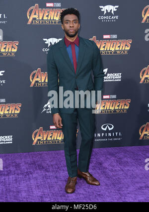 April 23, 2018 - Hollywood, CA, U.S. - 23 April 2018 -  Hollywood, California - Chadwick Boseman . Disney and Marvel's ''Avengers: Infinity War'' Los Angeles Premiere held at Dolby Theater. Photo Credit: Birdie Thompson/AdMedia (Credit Image: © Birdie Thompson/AdMedia via ZUMA Wire) - Stock Photo