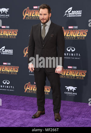 Hollywood, CA, USA. 23rd Apr, 2018. 23 April 2018 - Hollywood, California - Chris Pratt. Disney and Marvel's ''Avengers: Infinity War'' Los Angeles Premiere held at Dolby Theater. Photo Credit: Birdie Thompson/AdMedia Credit: Birdie Thompson/AdMedia/ZUMA Wire/Alamy Live News - Stock Photo