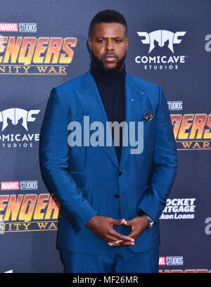 Los Angeles, California, USA. 23rd April, 2018. Winston Duke, attends the premiere of Disney and Marvel's 'Avengers: Infinity War' on April 23, 2018 in Los Angeles, California. Credit: Tsuni / USA/Alamy Live News - Stock Photo