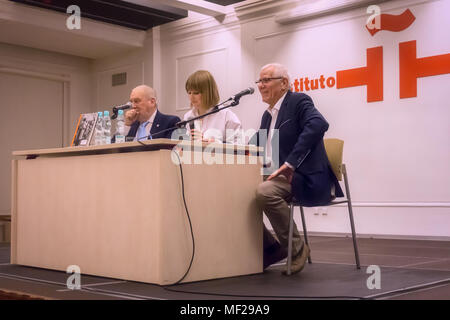 Warsaw, Poland - April 23rd, 2018: The Cervantes Institute of Warsaw celebrates World Book and Copyright Day. The Institute pays tribute to the career of the famous Argentine editor, photographer and writer Mario Muchnik and shows his pictures of well-known personalities from the world of literature. Carlos Marrodan Casas (Spanish poet and translator), Marcos Ricardo Barnatán (Argentine writer and poet) and Patricia Beatriz Salas (Argentine Ambassador to Poland) participate in this event. Credit: dario photography/Alamy Live News - Stock Photo