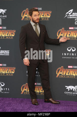 HOLLYWOOD, CA - APRIL 23: Chris Pratt, at the World Premiere of Avengers: Infinity War at El Capitan Theatre in Los Angeles, California on April 23, 2018. Credit: Faye Sadou/MediaPunch - Stock Photo