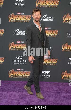 HOLLYWOOD, CA - APRIL 23: Chris Hemsworth, at the World Premiere of Avengers: Infinity War at El Capitan Theatre in Los Angeles, California on April 23, 2018. Credit: Faye Sadou/MediaPunch - Stock Photo